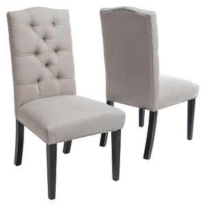 Set of 2 Berlin Tufted Fabric Dining Chair Natural - Christopher Knight Home
