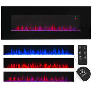 """XtremepowerUS 50"""" Wall Mount Electric Fireplace Heater Glass Firestone with Remote Control"""