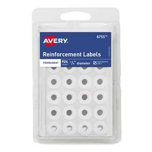 "Avery Round Reinforcement Labels, 1/4"", Handwrite, Permanent, White, 924 Reinforcements (6755)"