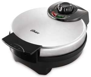 """Oster 8"""" Nonstick Belgian Waffle Maker with Temperature Control, Silver"""