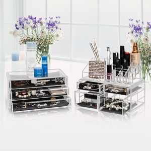Zimtown 7 Drawer  Cosmetic Makeup Case Lipstick Jewelry Brush Holder Storage Organizer Transparent