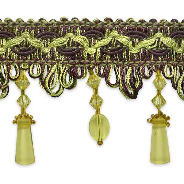 Expo Int'l Rectangular and Circle Beaded Fringe Trim by the yard