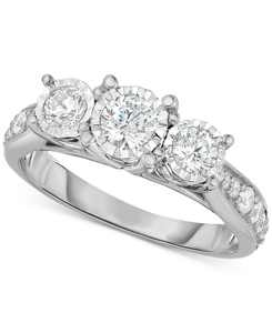 Diamond Three-Stone Ring (1 ct. t.w.) in 14k White, Yellow or Rose Gold