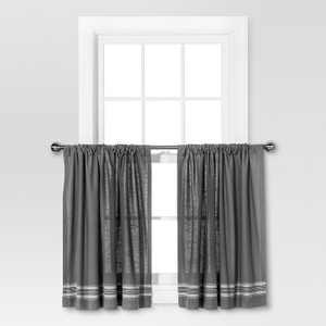 "36""x42"" Striped Curtain Tiers Gray/Cream - Threshold™"