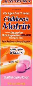 Motrin Children's Pain Reliever/Fever Reducer Syrup, Bubble Gum 4 oz (Pack of 2)