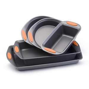 Rachael Ray 5-Pieces Yum-o! Nonstick Bakeware Baking Pans Set, Gray and Orange