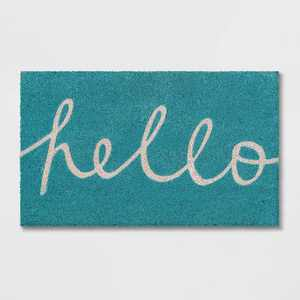 "Blue Hello Cursive Doormat 1'6""x2'6"" - Room Essentials™"