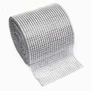 """Rhinestone Mesh Ribbon Wrap Roll for Decorations, Silver, 4.75"""" X 10 Yard"""