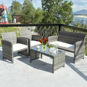 Costway 4 Piece Rattan Patio Furniture Set Garden Lawn Sofa with White Cushions