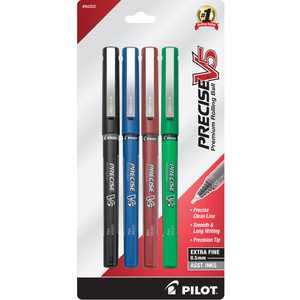 Pilot Precise V5 Pens, Extra Fine Point, Assorted, 4 Pack, 17510788
