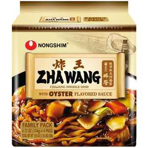 Nongshim Zha Wang Roasted Black Bean Sauce Ramyun Ramen Noodle Dish Pack, 4.72oz X 4 Count