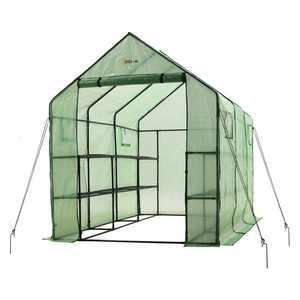"Ogrow 2 Tier 12 Shelf Portable Garden Walk-in Greenhouse, 117 x 67 x 83"", Dark Green"