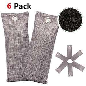 6 Pack Bamboo Odor Eliminator Bags Charcoal Air Purifying Bag Natural Air Fresheners, Closet Dehumidifier, Car Air Purifier, Gym Bag Deodorizer, Shoe Odor Eliminator