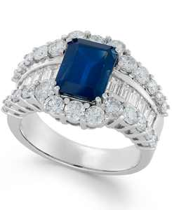 Sapphire (3-5/8 ct. t.w.) and Diamond (2 ct. t.w.) Ring in 14k White Gold