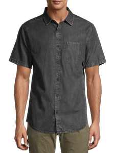 No Boundaries Men's and Big Men's Short Sleeve Denim Shirt , up to 5XL