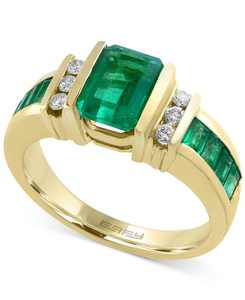 EFFY Sapphire (2-1/4 ct. t.w.) and Diamond (1/6 ct. t.w.) Ring in 14k Gold(Also Available in Emerald)
