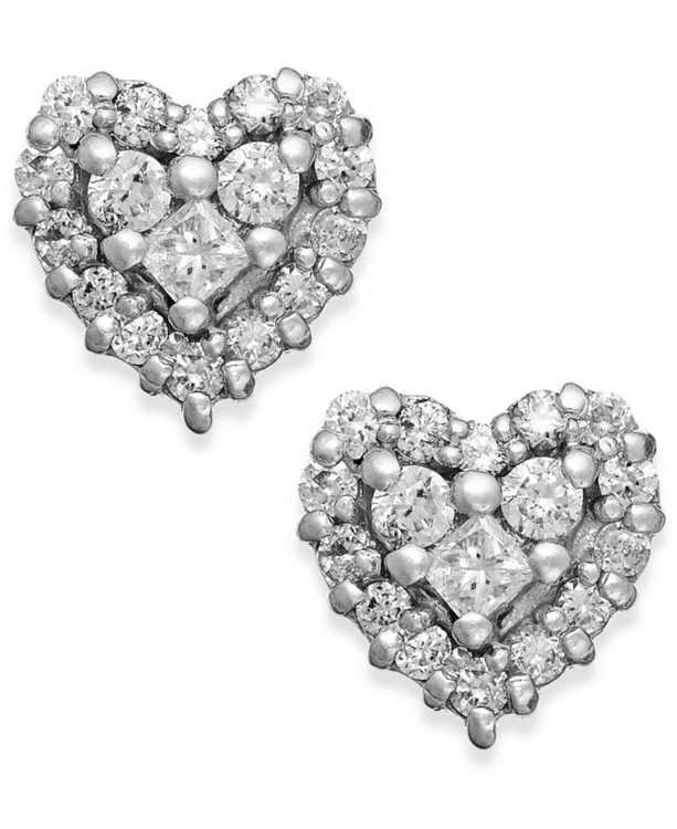 EFFY Diamond Heart Stud Earrings in 14k White Gold and Rose Gold (1/2 ct. t.w.)
