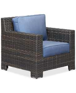 Viewport Wicker Outdoor Club Chair with Sunbrella Cushions, Created for Macy's
