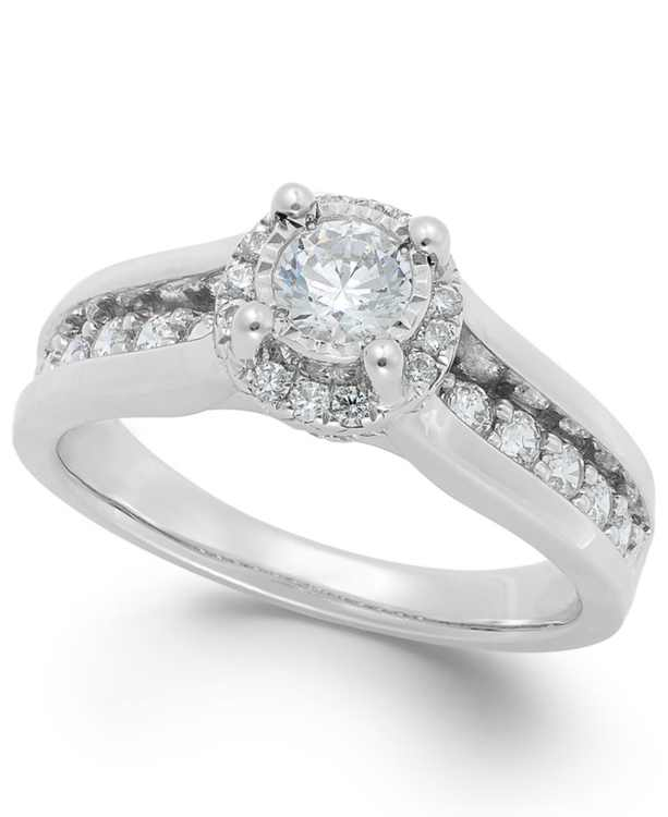 Diamond Channel Halo Engagement Ring (1 ct. t.w.) in 14k White Gold