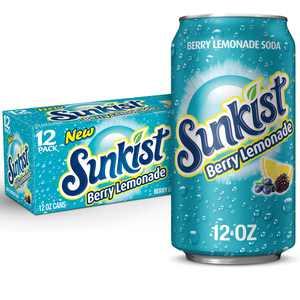 Sunkist Berry Lemonade Soda, 12 fl oz cans, 12 Pack