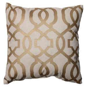 """Pillow Perfect Geometric Throw Pillow - 16.5""""x16.5"""" - Gold/Linen"""