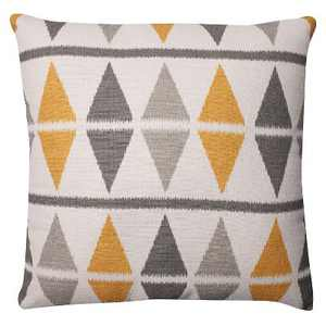 "Pillow Perfect Ikat Argyle Birch Throw Pillow - 16.5""x16.5"" - Gray"