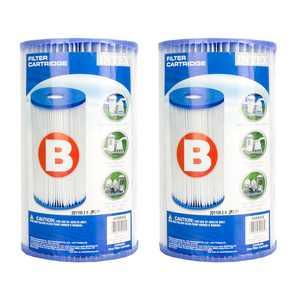 Intex 29005E Swimming Pool Type B Replacement Filter Pump Cartridge, (2 Pack)