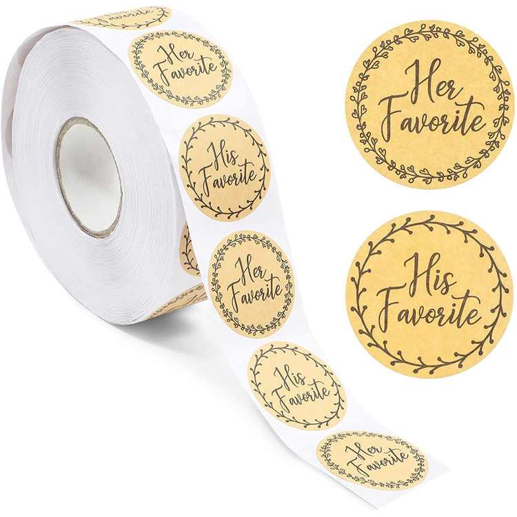 1000 Pcs His Favorite and Her Favorite Stickers for Wedding Supplies, Brown, 1.5 in.
