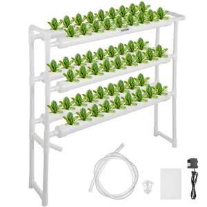 VEVOR 3 Layers 54 Plant Sites Hydroponic Site Grow Kit 6 Pipes Hydroponic Growing System Water Culture Garden Plant System for Leafy Vegetables Lettuce Herb Celery Cabbage