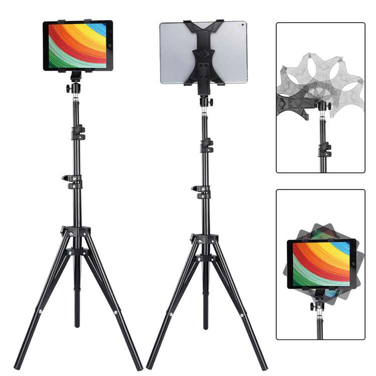 """Tablet Tripod Stand, TSV Foldable Height Adjustable 21 to 63 Inch Tablet Tripod Mount Compatible with iPad, Samsung Galaxy Tab, Nexus and More 7"""" to 10"""" Tablet"""
