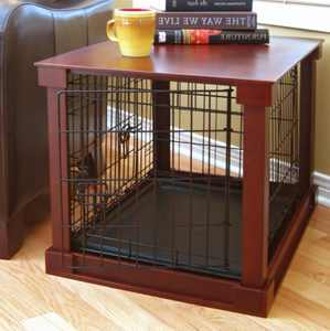 Merry Products Pet Dog Crate End Table with Cover, Mahogany, Medium, 30L x 19W x 21H in.