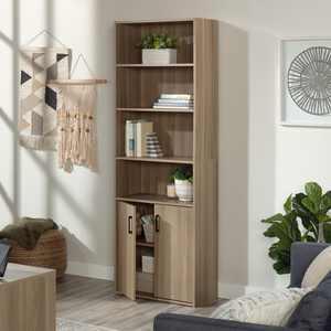 Sauder Beginnings Tall 4-Shelf Bookcase with 2 Doors, Summer Oak Finish