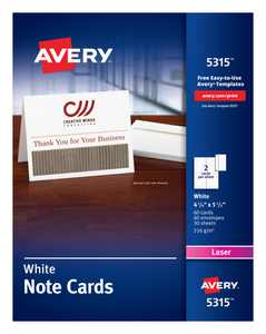 """Avery Printable Note Cards, Two-Sided Printing, 4-1/4"""" x 5-1/2"""", 60 Cards (5315)"""