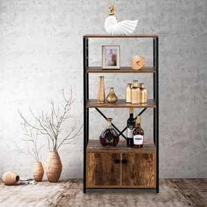 Zimtown 4-Tier Multifunctional Industrial Kitchen Baker's Rack with Cabinet