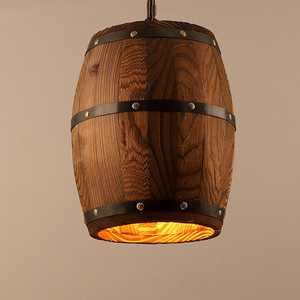1pcs Antique Wood Wine Barrel Pendant Lamp, 9.8x13 inch Hanging Rustic Unique Kitchen Ceiling Lamp Light Fixture for Home Decor(Without Bulb)