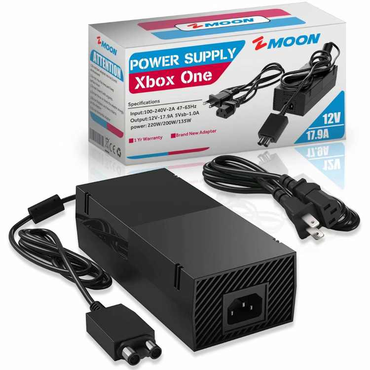 12V 17.9A Xbox One Power Supply Brick, [Newest Quietest Version] AC Adapter Cord Replacement Charger for Xbox One with Cable 100-240V Auto Voltage - US Plug 12V 17.9A