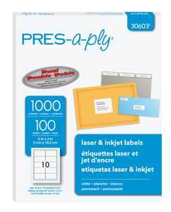 "PRES-a-ply White Shipping Labels, 2"" x 4"", 1000 Labels (30603)"