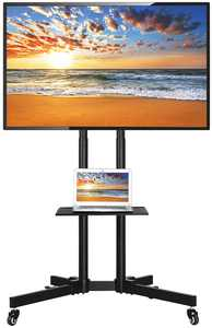 """Easyfashion Modern Mobile Rolling TV Stand for Flat Panel TVs up to 65"""", Black"""