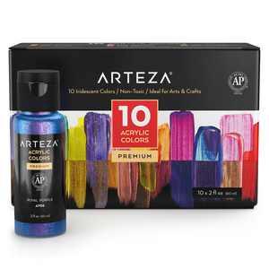 ARTEZA Iridescent Acrylic Paint, 60ml Bottles, Set of 10