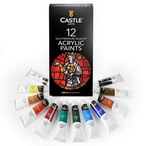 Castle Art Supplies Acrylic Paint Set for Beginners, Students or Artists, 12 x 12 Millilitre Tubes, Vivid Colors Set of 12