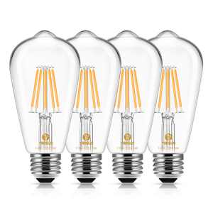 Vintage LED Edison Bulbs 60 Watt Equivalent 6W LED Filament Light Bulb 600 Lumen Soft White 2700K ST58 Antique E26 Medium Base for Decorate Bedroom Reading Room, 4 Pack