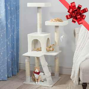 Petmaker 51-in Cat Tree & Condo Scratching Post Tower, White