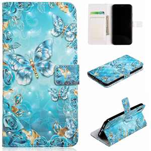 iPhone XR Case Wallet, iPhone XR 2018 Case, Allytech [3D Painted] PU Leather Magnetic Folio Cover & Credit Card Slots Pocket, Support Kickstand Slim Case for Apple iPhone XR (Blue Butterfly)