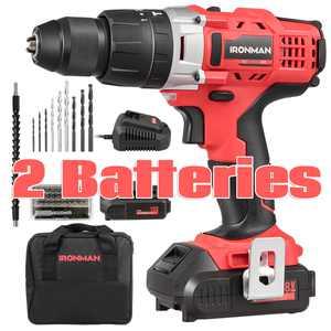 18V Cordless Drill Driver Impact Tool Kit 1/2'' Chuck 2000mAh Li-Ion w/ LED Light