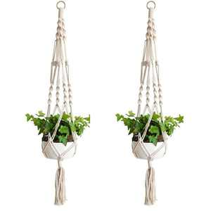 EEEKit 2 Pack Macrame Plant Hanger - Indoor Outdoor Hanging Planter Shelf - Decorative Flower Pot Holder - Hanging Baskets For Plant, Boho Bohemian Home Decor, in Box, for Succulents, Cacti, Herbs