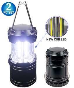 2pc Portable Collapsible COB LED Camping Lantern - Military Tough Light LED COB Tactical Lantern - Ultra Bright & Portable - For Hiking Camping Home Power Outages or Other Emergencies - NEW
