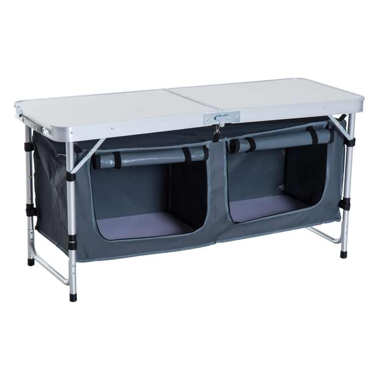 """Outsunny 48"""" Aluminum Folding Camping Tablee With Carrying Handle And Storage Organizer"""