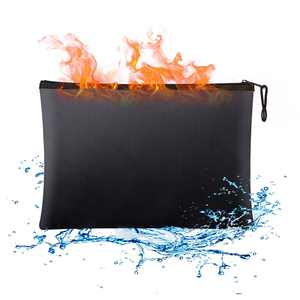 Fireproof Document Bag, Waterproof and Fire Resistant Non-Itchy Silicon Coated Safe Storge for Money, Documents, Jewelry and Passport (Black)