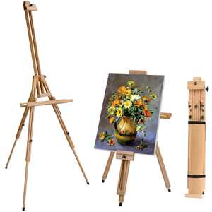 UBesGoo Wooden Tripod Folding Art Easel Stand for Drawing Painting
