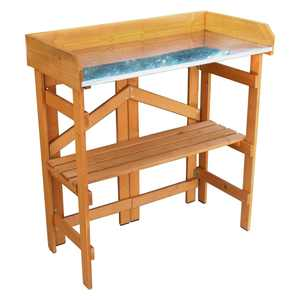 Northbeam Foldable Wood Potting Bench with Metal Surface
